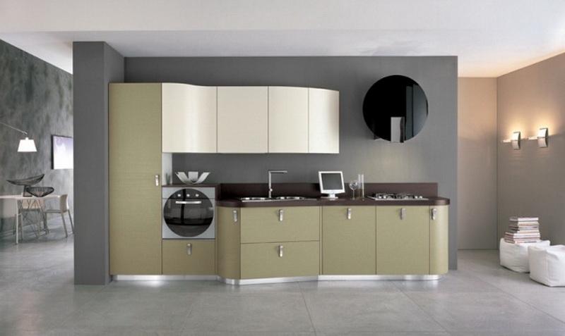 Белая зеленая кухня