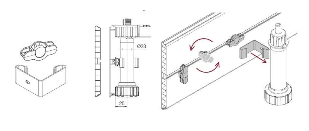 схема монтажа - магнитный цоколь для кухни