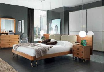 Дизайн спальни кожа, натуральное дерево