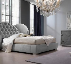 Кожаная кровать белая