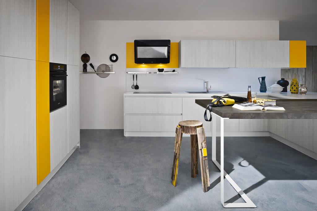 кухня желтый и ясень