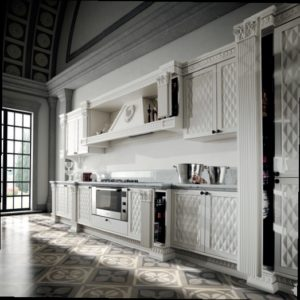 белая 3d классическая кухня от Del Tongo