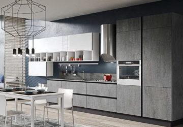 Кухня с фасадом бетон и белый от Aran