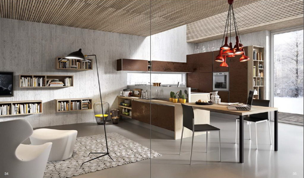 Кухня с фасадом бетон от Aran - бронза