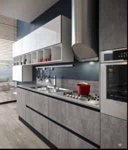 Серая кухня с фасадом бетон от Aran