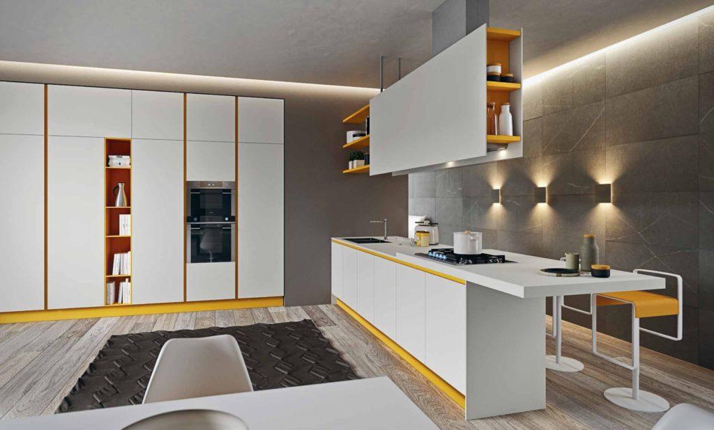 Белая кухня с желтым акцентом