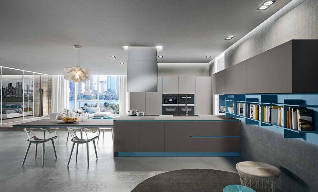 Кухня с акцентом - серый с синим
