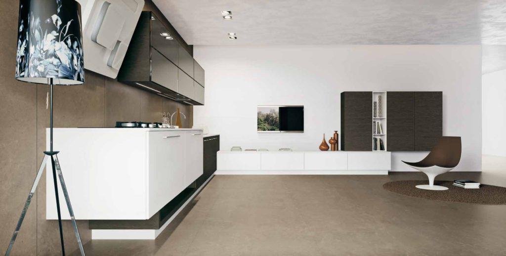 Кухня шпон дуба - контраст формы и цвета и отделки, Arritalcucine