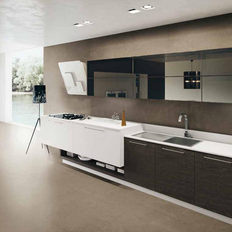 Кухня шпон дуба - контраст формы, цвета и отделки