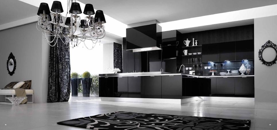 Черная элитная кухня с кристаллами Сваровски