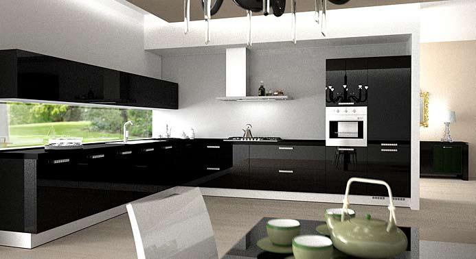 Черная элитная кухня с кристаллами Сваровски от компании Arros