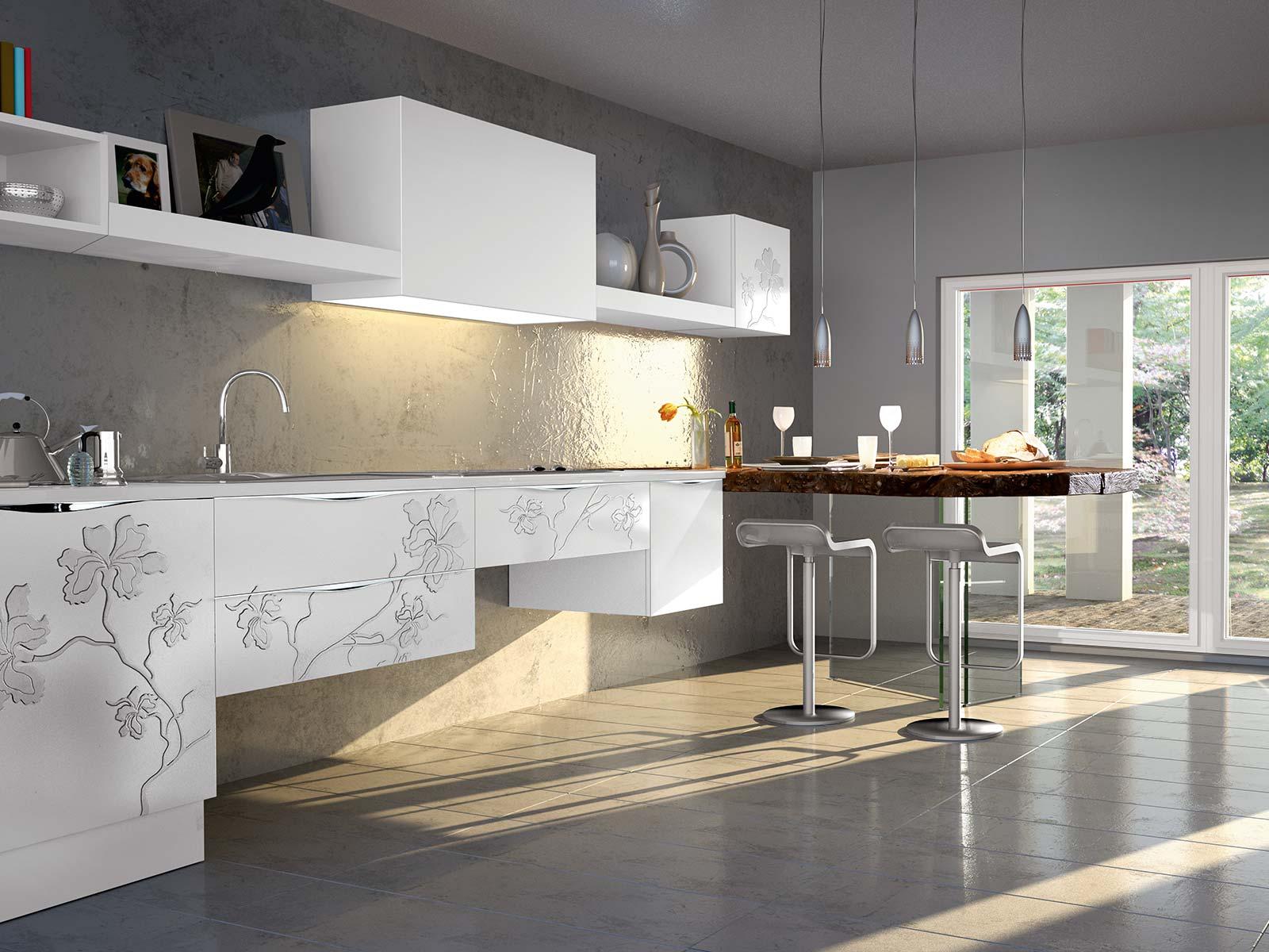 Белые 3д фасады для кухни ирис