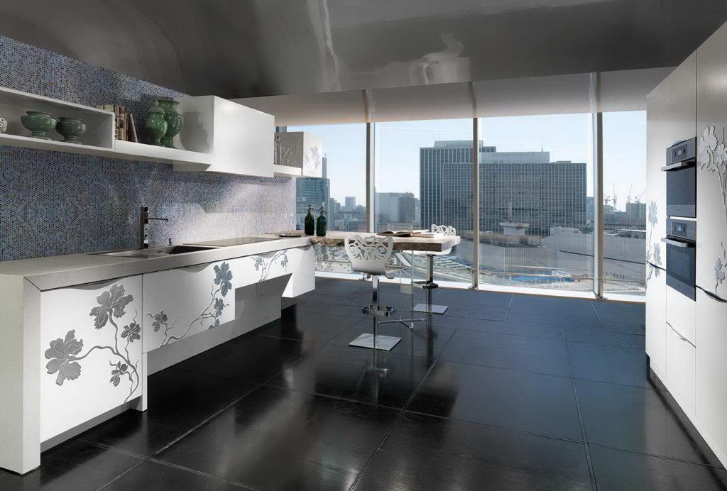 3д кухня белая с серым
