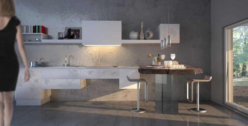 Ирис - белые 3д фасады для кухни
