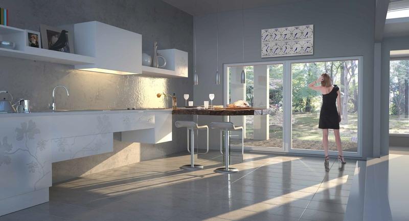 Белые 3д фасады для кухни - ирис