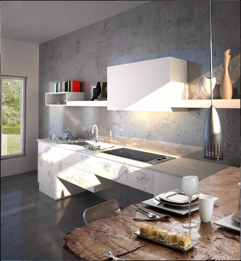 Белые 3д фасады для кухни