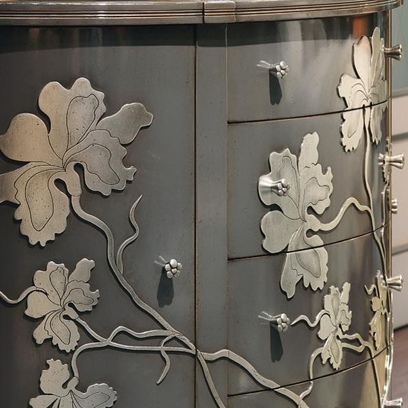 Серые 3д фасады для кухни в металлической отделке