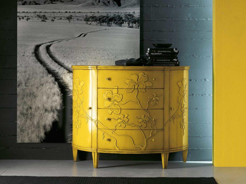 Желтые 3д фасады для кухни в металлической отделке