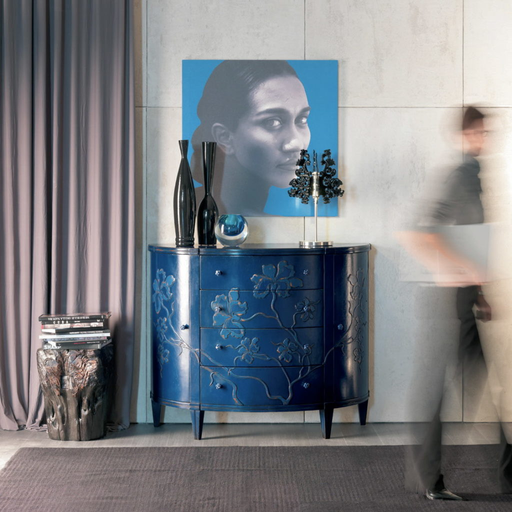 синие 3д фасады для кухни в металлической отделке