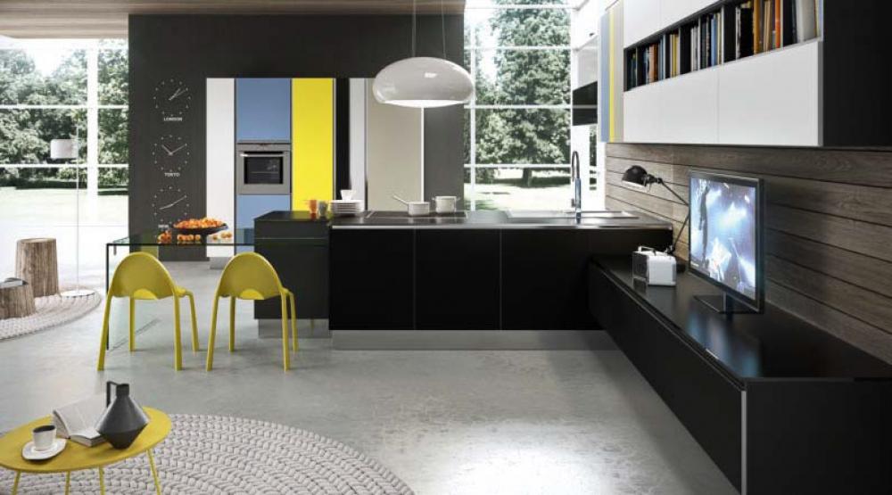 Черный, желтый и серый плюс синий для кухни