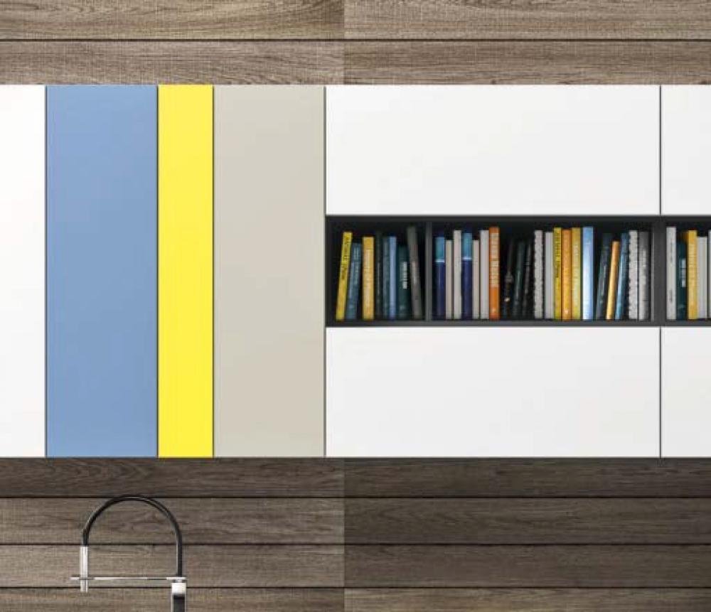 Синий, желтый и серый для кухни