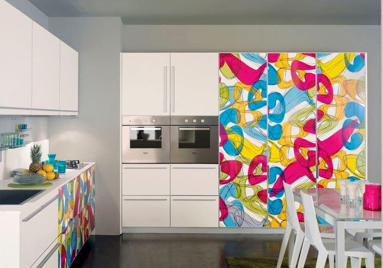Кухня в пластике с фасадами в алюминиевой рамке абстрактные