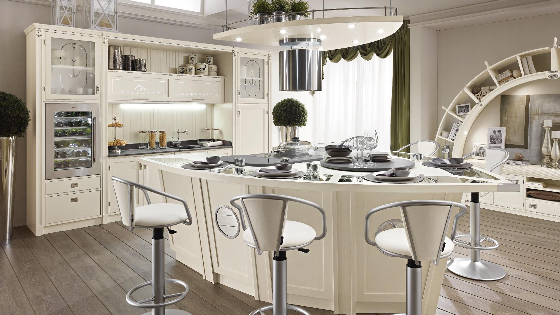 Белый Кухня - остров в виде яхты