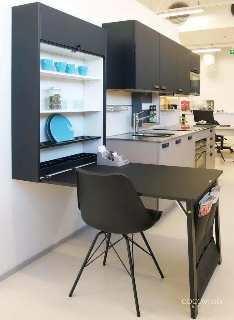 Черный Складной стол для маленькой кухни