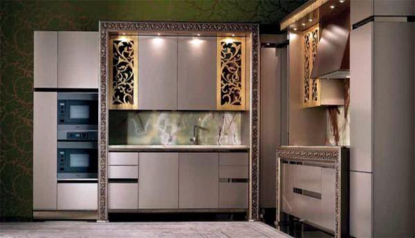 Серый декор кухни в стиле эклектика