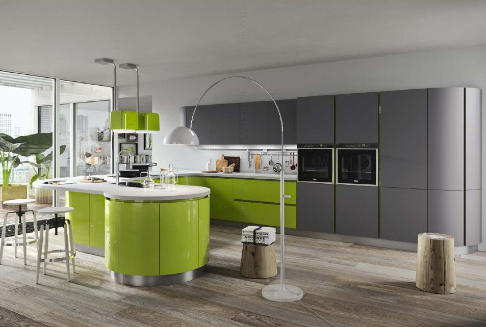 Серо-зеленая кухня