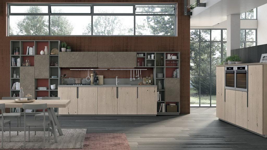 Сочетание фактуры бетона и натурального дерева