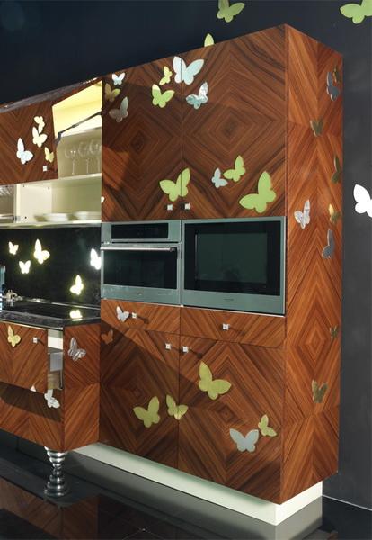 Кухня арт-деко с бабочками