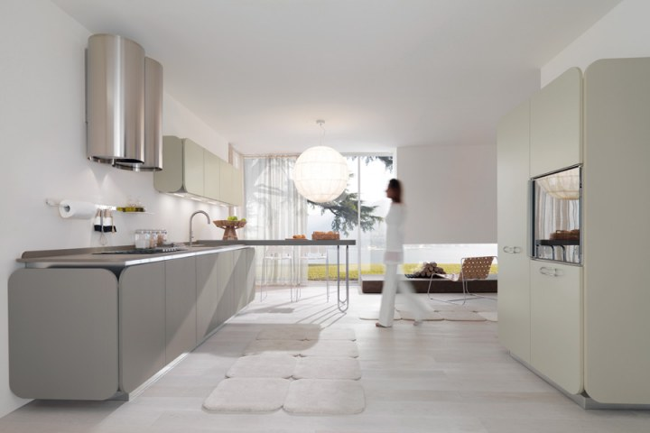 ерая кухня в стиле Хай-тек от Euromobil