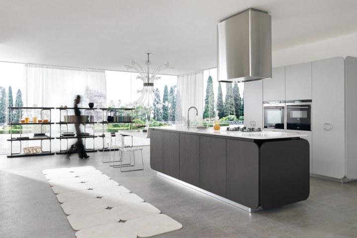Темно-серая кухня в стиле Хай-тек от Euromobil