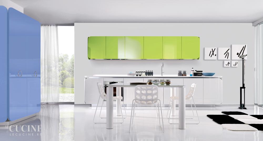 Зеленая кухня в стиле Хай-тек от Euromobil