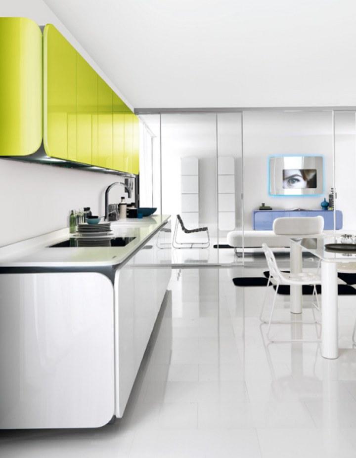 Салатовая кухня в стиле Хай-тек от Euromobil