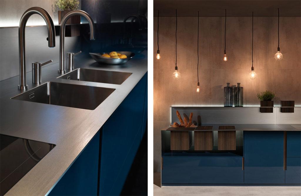 Синяя кухня без ручек