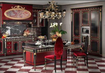 Красно-черная кухня с золотой патиной