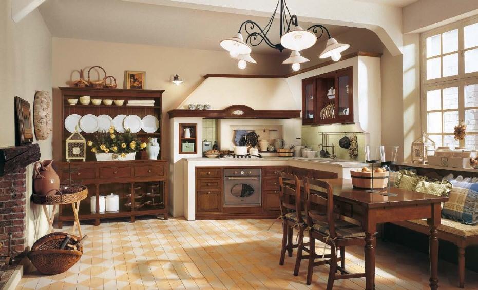 Кухня в стиле кантри орех