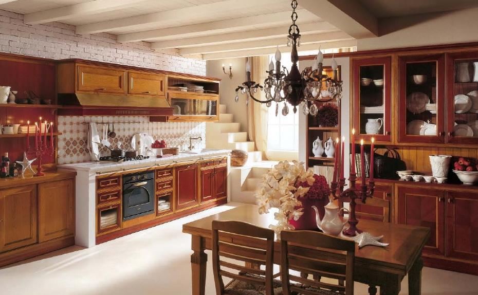 Кухня в стиле кантри красная
