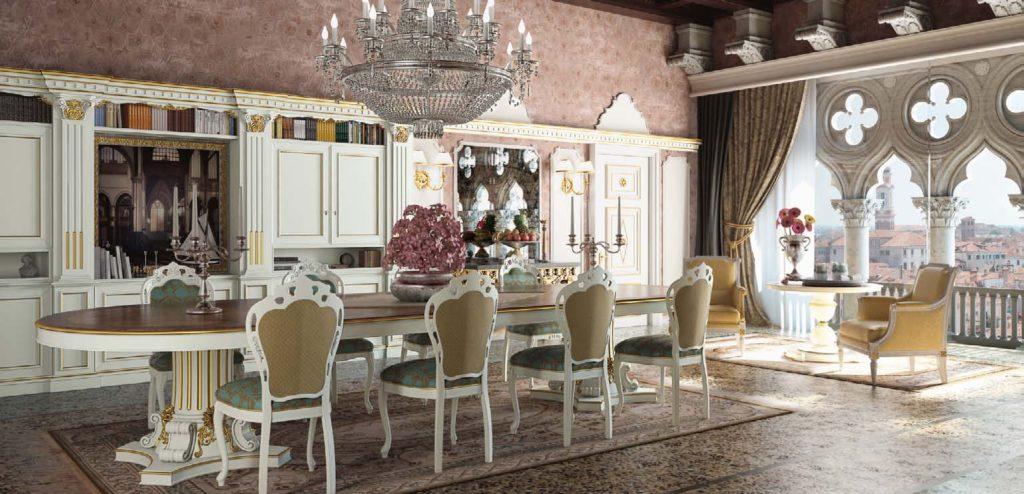 Дизайн с золотом кухня белая