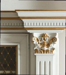 Дизайн с золотом кухня белая декор
