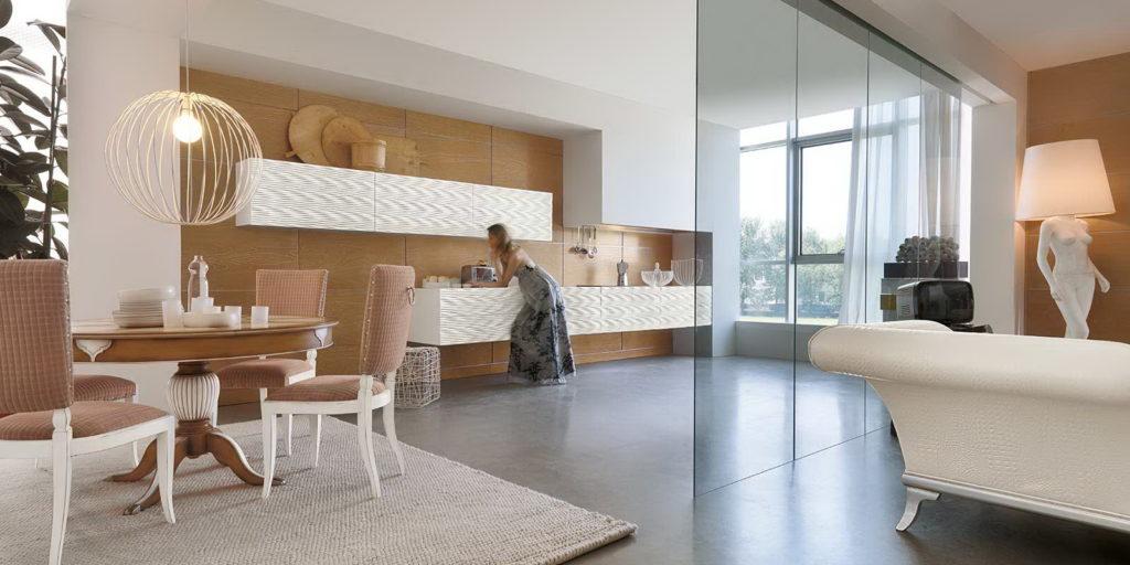 3D фасады для кухни белая