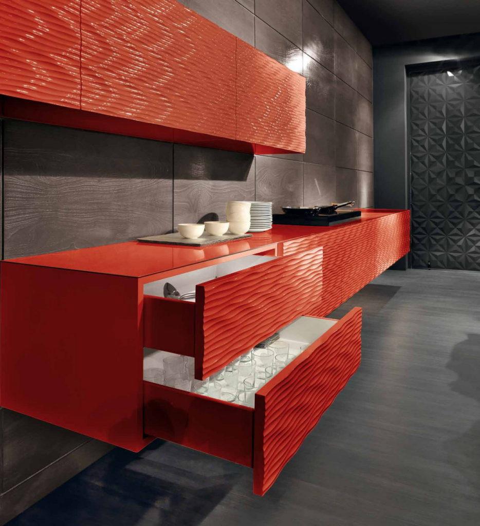Волна 3D фасады для кухни