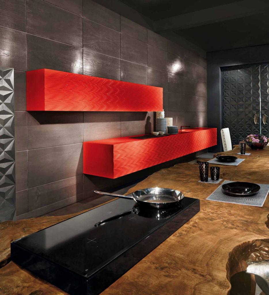 красная волна 3D фасады для кухни
