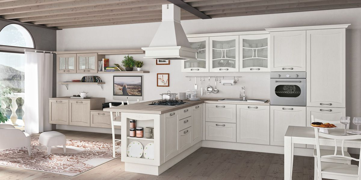 Кухня – вогнутый фасад белая