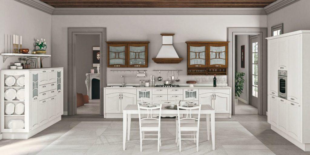 Кухня – вогнутый фасад белая дуб