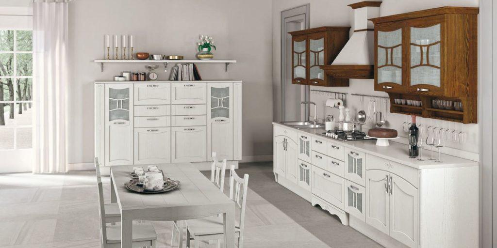 Кухня – вогнутый фасад бело-дубовая