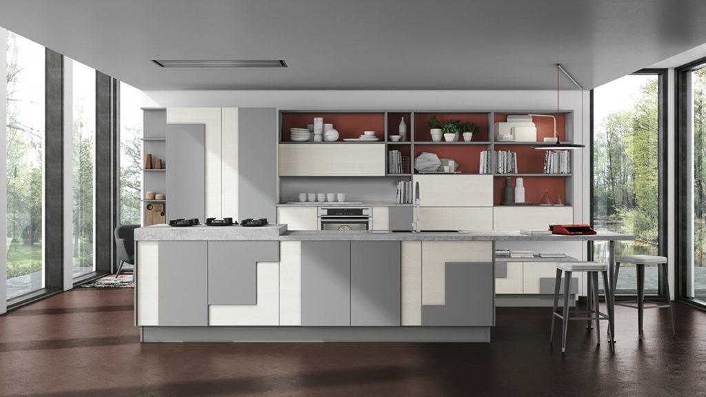 Креативный дизайн кухни – накладной фасад серо-белый