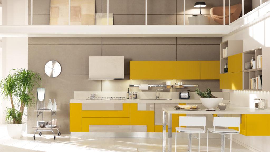 Креативный дизайн кухни – накладной фасад желтый